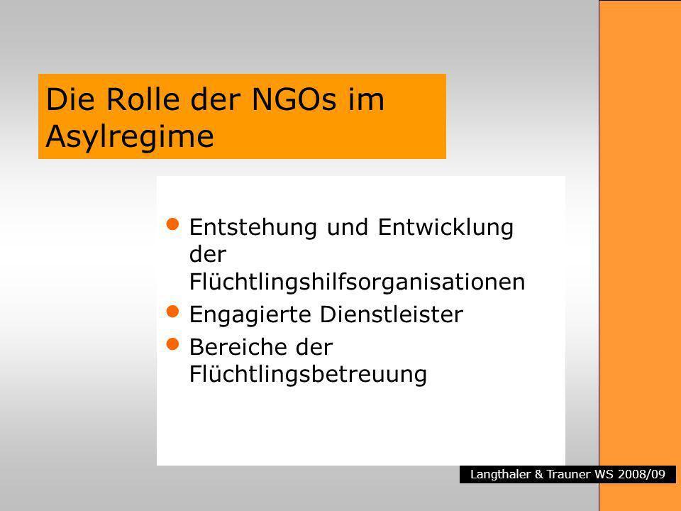 Langthaler & Trauner WS 2008/09 Die Rolle der NGOs im Asylregime Entstehung und Entwicklung der Flüchtlingshilfsorganisationen Engagierte Dienstleiste