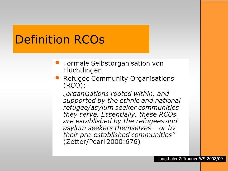 Langthaler & Trauner WS 2008/09 Definition RCOs Formale Selbstorganisation von Flüchtlingen Refugee Community Organisations (RCO): organisations roote