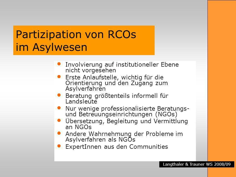 Langthaler & Trauner WS 2008/09 Partizipation von RCOs im Asylwesen Involvierung auf institutioneller Ebene nicht vorgesehen Erste Anlaufstelle, wicht