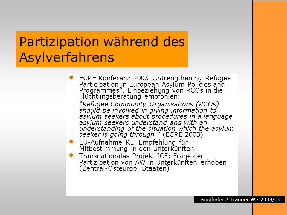 Langthaler & Trauner WS 2008/09 Partizipation während des Asylverfahrens ECRE Konferenz 2003 Strengthening Refugee Participation in European Asylum Po