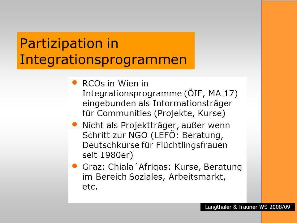 Langthaler & Trauner WS 2008/09 Partizipation in Integrationsprogrammen RCOs in Wien in Integrationsprogramme (ÖIF, MA 17) eingebunden als Informationsträger für Communities (Projekte, Kurse) Nicht als Projektträger, außer wenn Schritt zur NGO (LEFÖ: Beratung, Deutschkurse für Flüchtlingsfrauen seit 1980er) Graz: Chiala´Afriqas: Kurse, Beratung im Bereich Soziales, Arbeitsmarkt, etc.