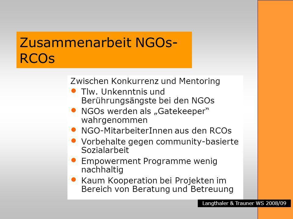 Langthaler & Trauner WS 2008/09 Zusammenarbeit NGOs- RCOs Zwischen Konkurrenz und Mentoring Tlw. Unkenntnis und Berührungsängste bei den NGOs NGOs wer