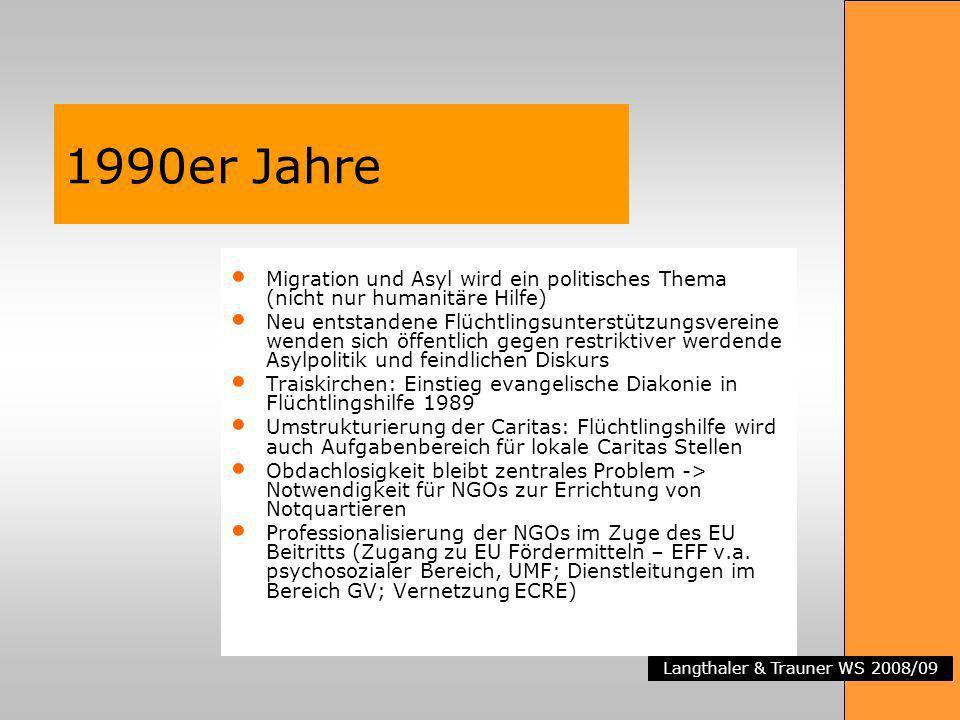 Langthaler & Trauner WS 2008/09 1990er Jahre Migration und Asyl wird ein politisches Thema (nicht nur humanitäre Hilfe) Neu entstandene Flüchtlingsunt