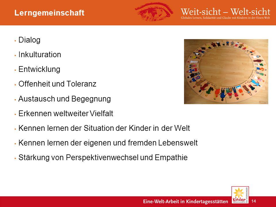 Lerngemeinschaft Dialog Inkulturation Entwicklung Offenheit und Toleranz Austausch und Begegnung Erkennen weltweiter Vielfalt Kennen lernen der Situation der Kinder in der Welt Kennen lernen der eigenen und fremden Lebenswelt Stärkung von Perspektivenwechsel und Empathie 14