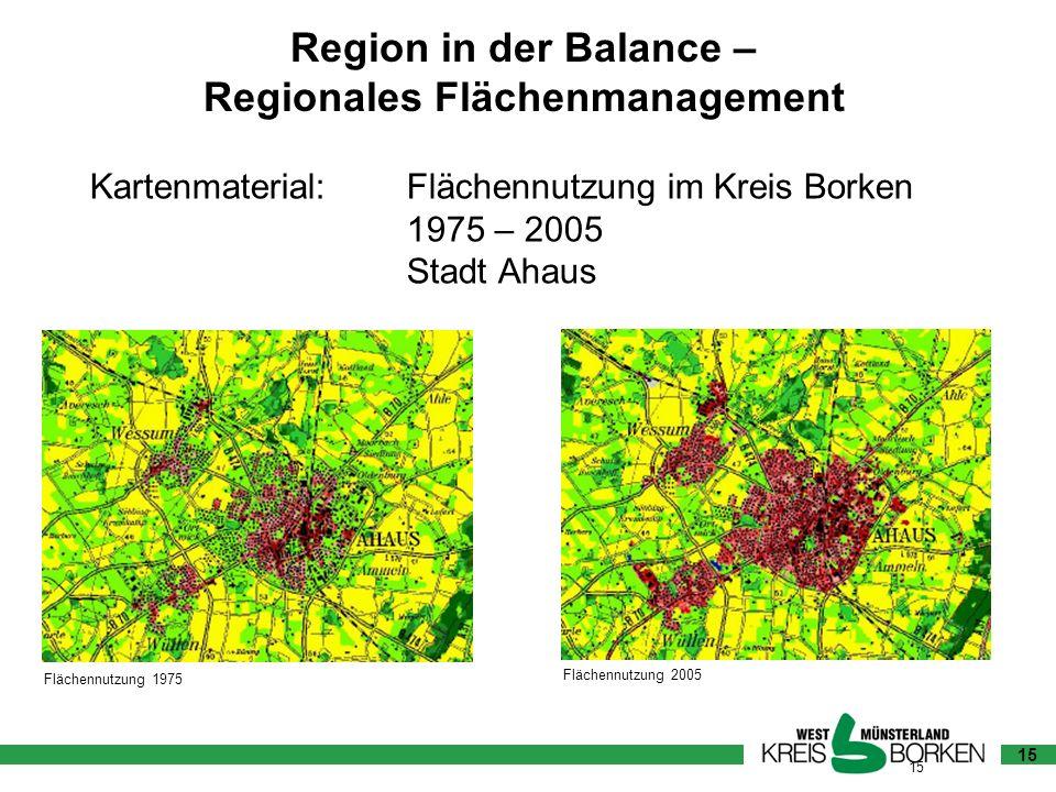 15 Flächennutzung 1975 Flächennutzung 2005 Kartenmaterial:Flächennutzung im Kreis Borken 1975 – 2005 Stadt Ahaus 15 Region in der Balance – Regionales