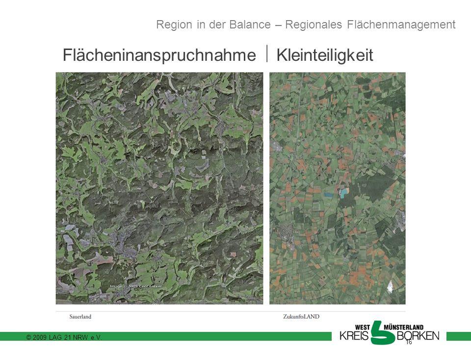 © 2009 LAG 21 NRW e.V. 16 Flächeninanspruchnahme Kleinteiligkeit Region in der Balance – Regionales Flächenmanagement