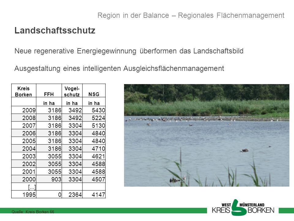 Kreis BorkenFFH Vogel- schutzNSGLSGGLB Landschafts- plangebiete Geschützte Flächengesamt in ha in % Gfl 2009318634925430606971160698236740747,49% 2008