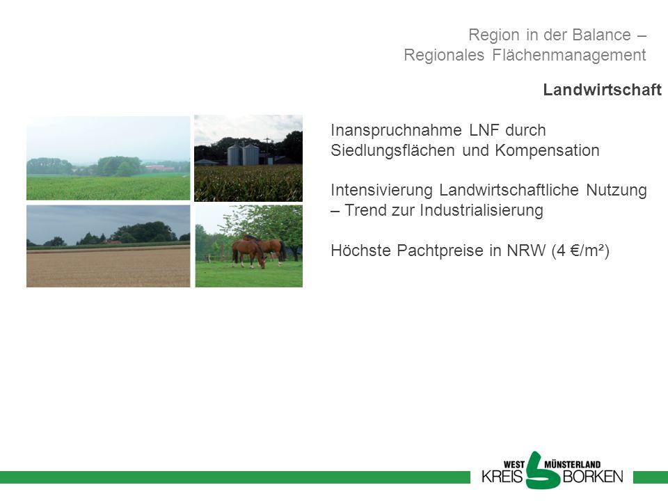 Region in der Balance – Regionales Flächenmanagement Landwirtschaft Inanspruchnahme LNF durch Siedlungsflächen und Kompensation Intensivierung Landwir