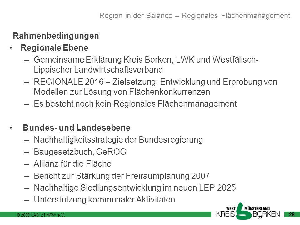 © 2009 LAG 21 NRW e.V. 28 Regionale Ebene –Gemeinsame Erklärung Kreis Borken, LWK und Westfälisch- Lippischer Landwirtschaftsverband –REGIONALE 2016 –