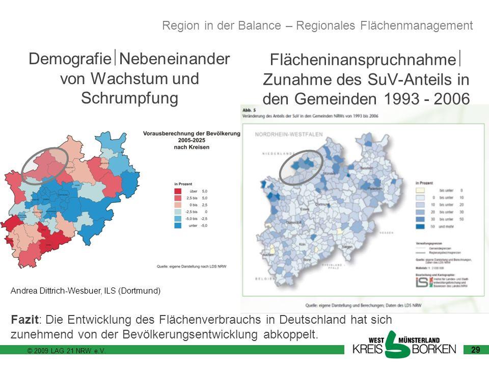 © 2009 LAG 21 NRW e.V. Andrea Dittrich-Wesbuer, ILS (Dortmund) Demografie Nebeneinander von Wachstum und Schrumpfung 29 Flächeninanspruchnahme Zunahme