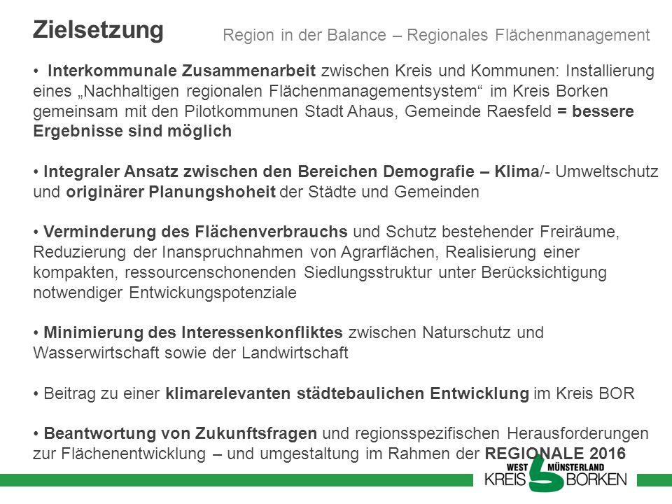 Zielsetzung Interkommunale Zusammenarbeit zwischen Kreis und Kommunen: Installierung eines Nachhaltigen regionalen Flächenmanagementsystem im Kreis Bo