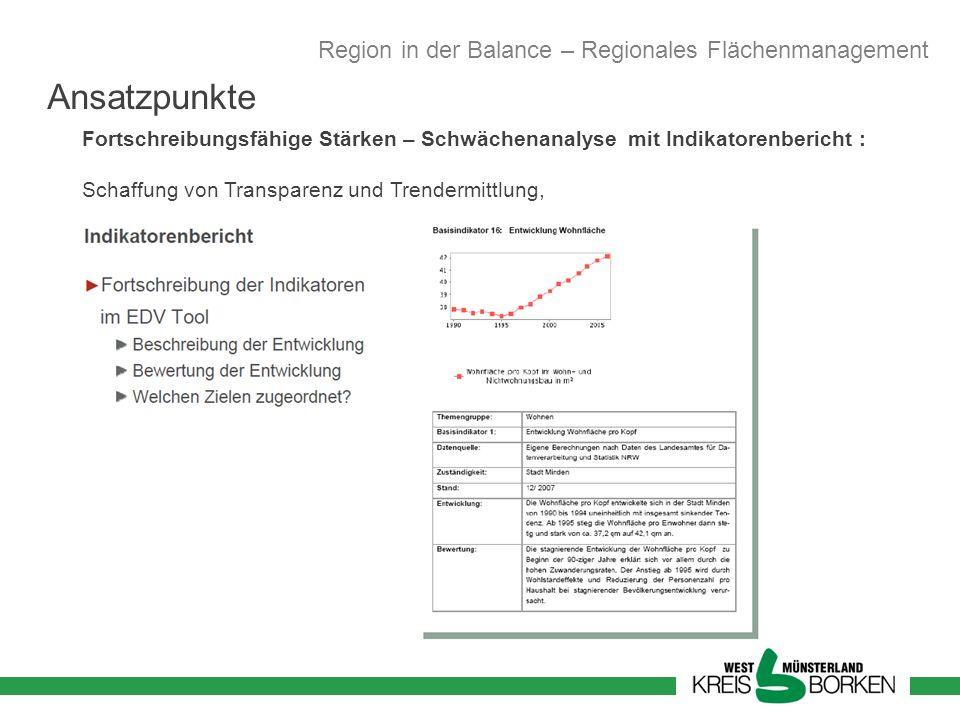 Fortschreibungsfähige Stärken – Schwächenanalyse mit Indikatorenbericht : Schaffung von Transparenz und Trendermittlung, Region in der Balance – Regio