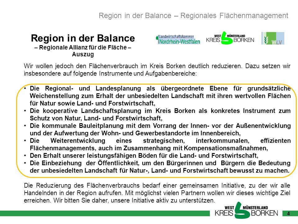 4 Region in der Balance – Regionale Allianz für die Fläche – Auszug Wir wollen jedoch den Flächenverbrauch im Kreis Borken deutlich reduzieren. Dazu s