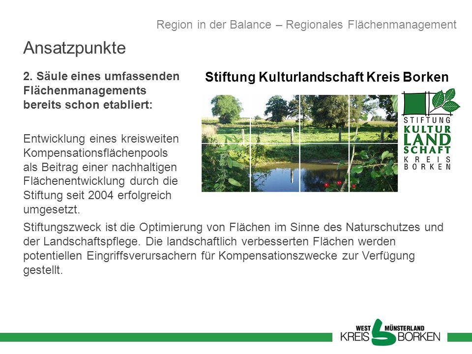 Stiftung Kulturlandschaft Kreis Borken 2. Säule eines umfassenden Flächenmanagements bereits schon etabliert: Entwicklung eines kreisweiten Kompensati