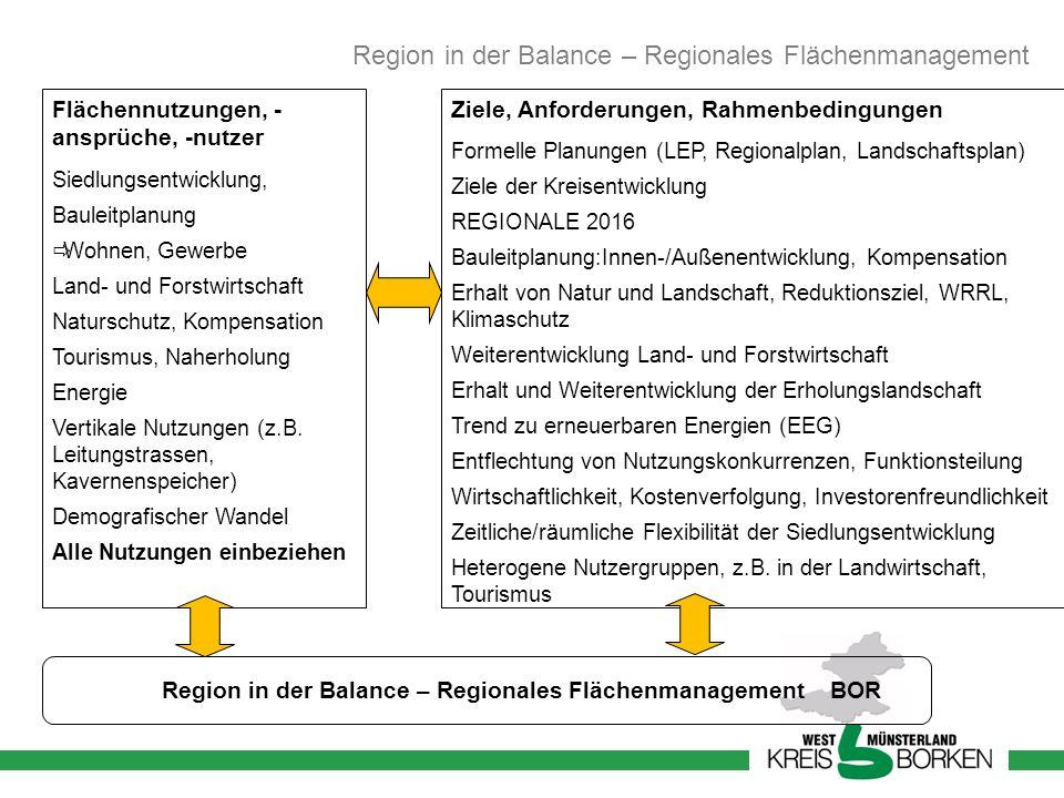 Region in der Balance – Regionales Flächenmanagement BOR Flächennutzungen, - ansprüche, -nutzer Siedlungsentwicklung, Bauleitplanung Wohnen, Gewerbe L