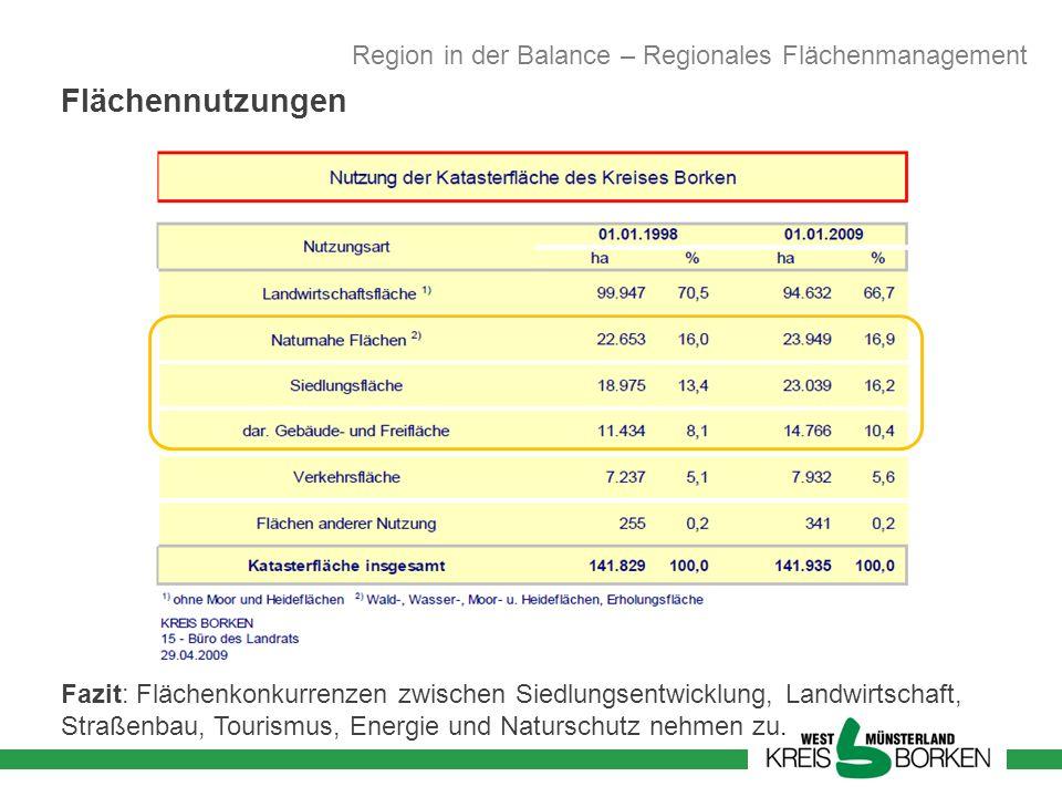 Fazit: Flächenkonkurrenzen zwischen Siedlungsentwicklung, Landwirtschaft, Straßenbau, Tourismus, Energie und Naturschutz nehmen zu. Flächennutzungen