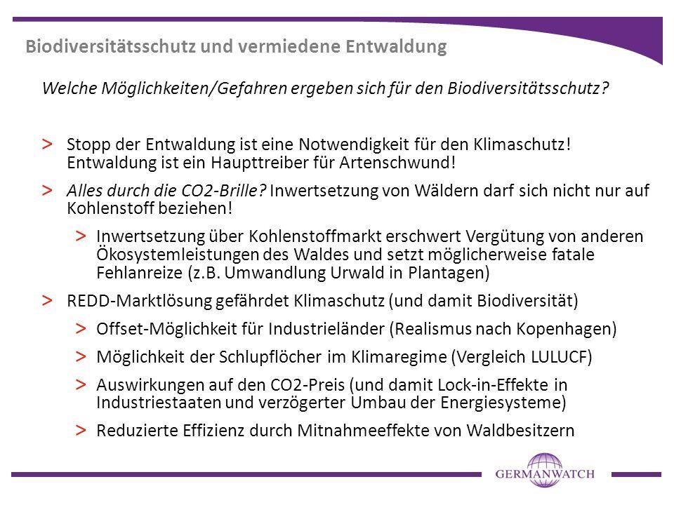 Biodiversitätsschutz und vermiedene Entwaldung Welche Möglichkeiten/Gefahren ergeben sich für den Biodiversitätsschutz? > Stopp der Entwaldung ist ein