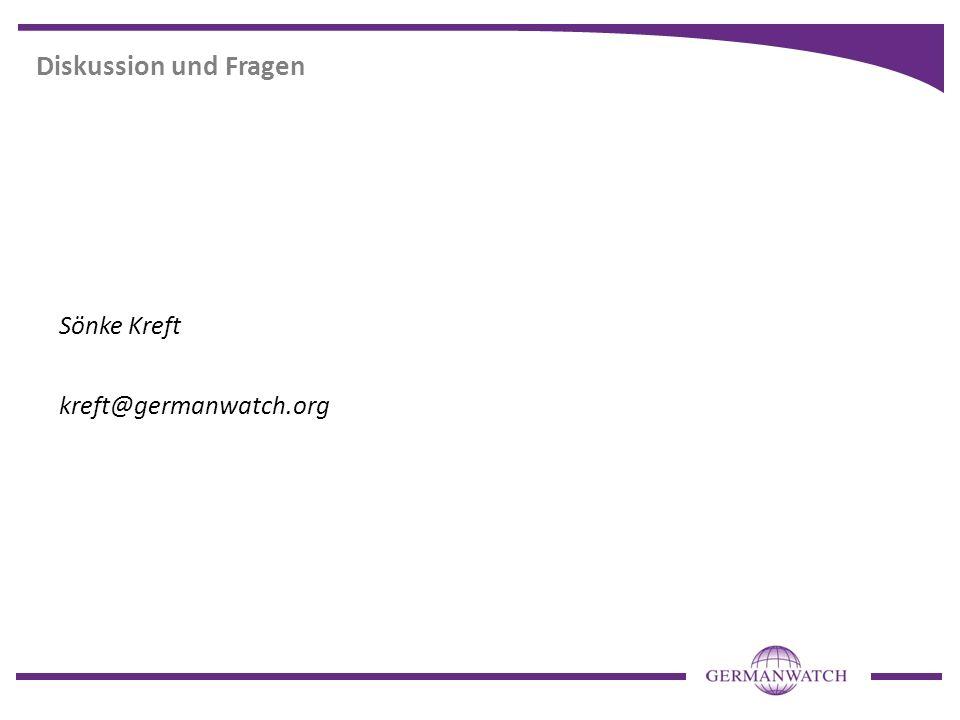 Diskussion und Fragen Sönke Kreft kreft@germanwatch.org
