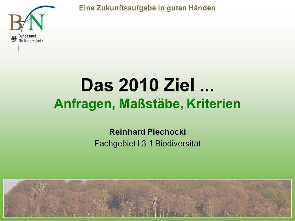 Eine Zukunftsaufgabe in guten Händen Das 2010 Ziel...