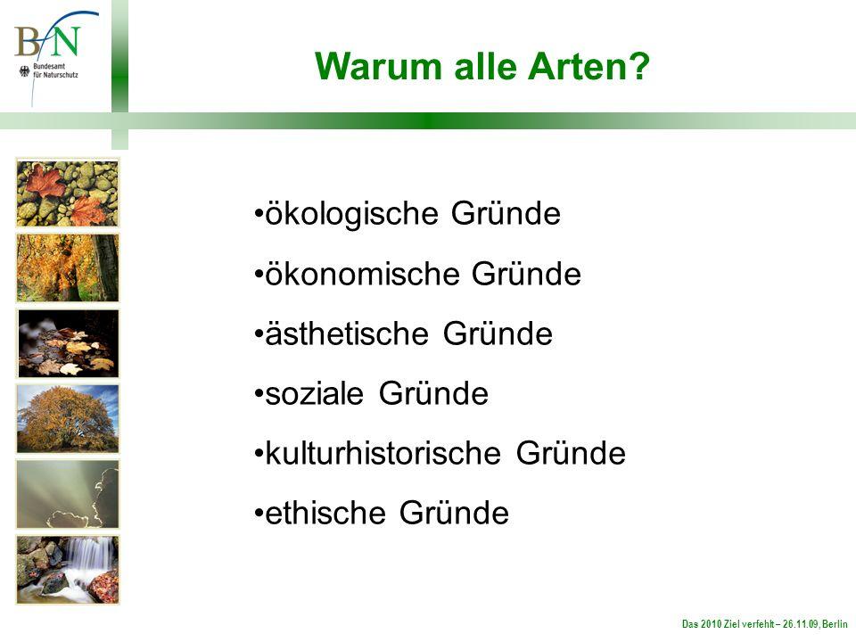 Das 2010 Ziel verfehlt – 26.11.09, Berlin Warum alle Arten.