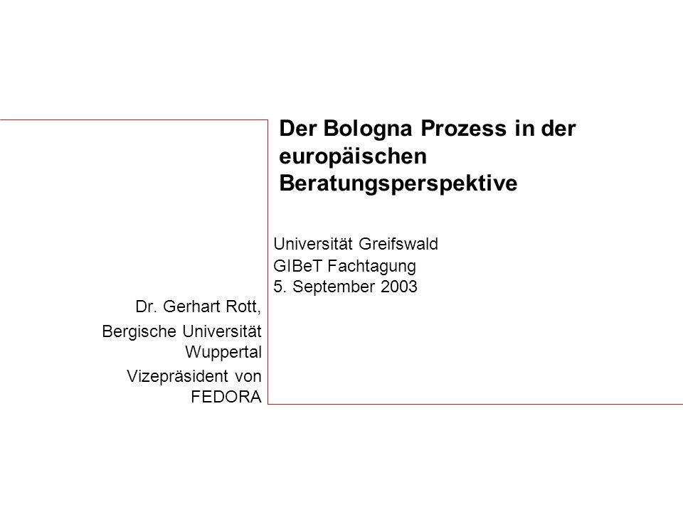 Der Bologna Prozess in der europäischen Beratungsperspektive Dr.