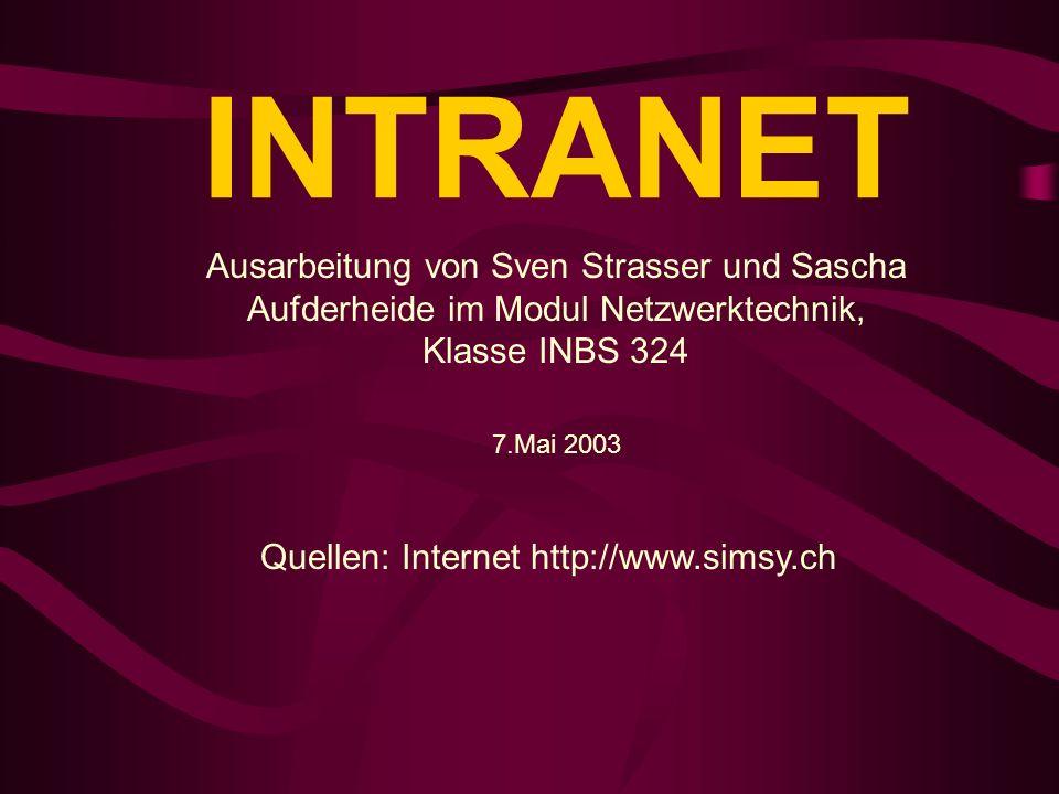 INTRANET Ausarbeitung von Sven Strasser und Sascha Aufderheide im Modul Netzwerktechnik, Klasse INBS 324 7.Mai 2003 Quellen: Internet http://www.simsy