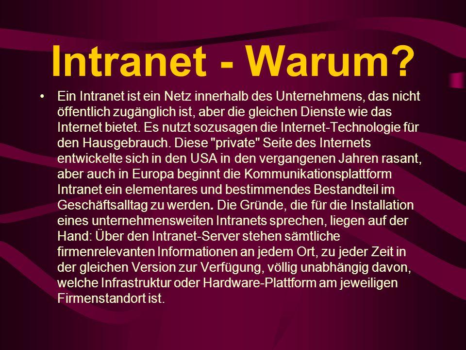Intranet - Warum? Ein Intranet ist ein Netz innerhalb des Unternehmens, das nicht öffentlich zugänglich ist, aber die gleichen Dienste wie das Interne
