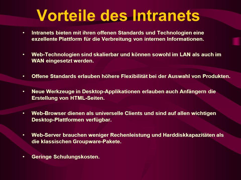 Vorteile des Intranets Intranets bieten mit ihren offenen Standards und Technologien eine exzellente Plattform für die Verbreitung von internen Inform