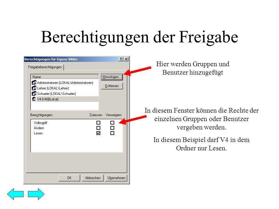 Berechtigungen der Freigabe Hier werden Gruppen und Benutzer hinzugefügt In diesem Fenster können die Rechte der einzelnen Gruppen oder Benutzer vergeben werden.