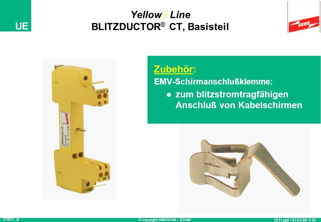 © copyright 1999 DEHN + SÖHNE UE Vor- / nacheilende Kontakte BLITZDUCTOR ® CT Basisteil, Prinzipschaltbild Erdung über Tragfuß Schirm- anschluß 2 3 4