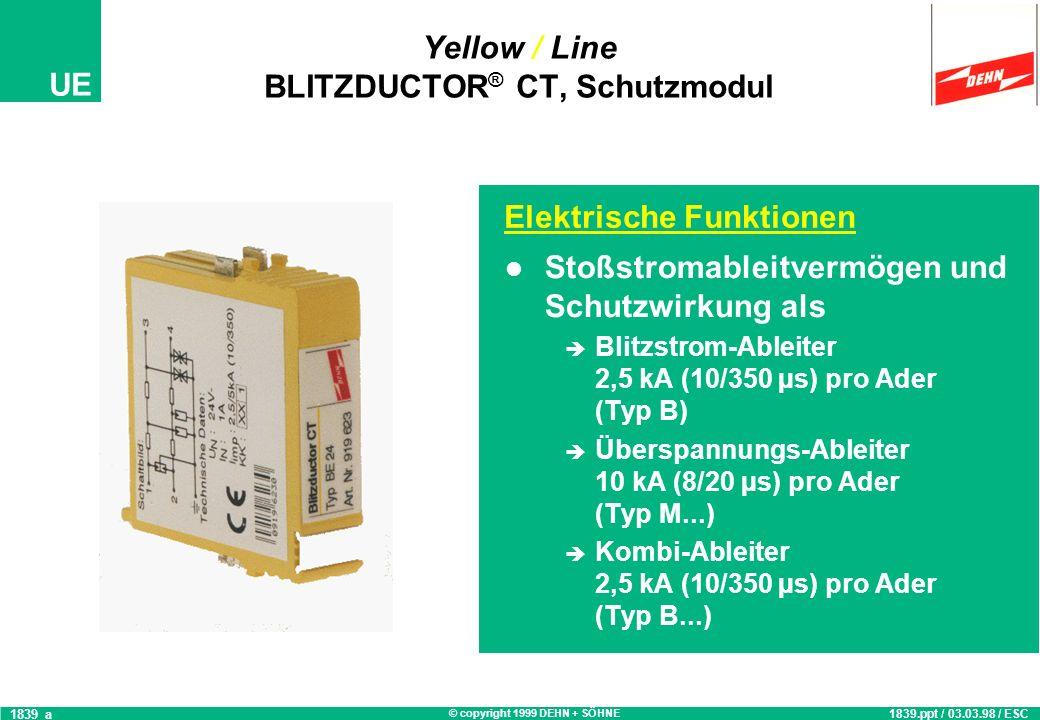 © copyright 1999 DEHN + SÖHNE UE Zubehör: Yellow / Line BLITZDUCTOR ® CT, Basisteil Erdungsklemmsatz: zur Erdung nicht benutzter, aber aufgelegter Ade