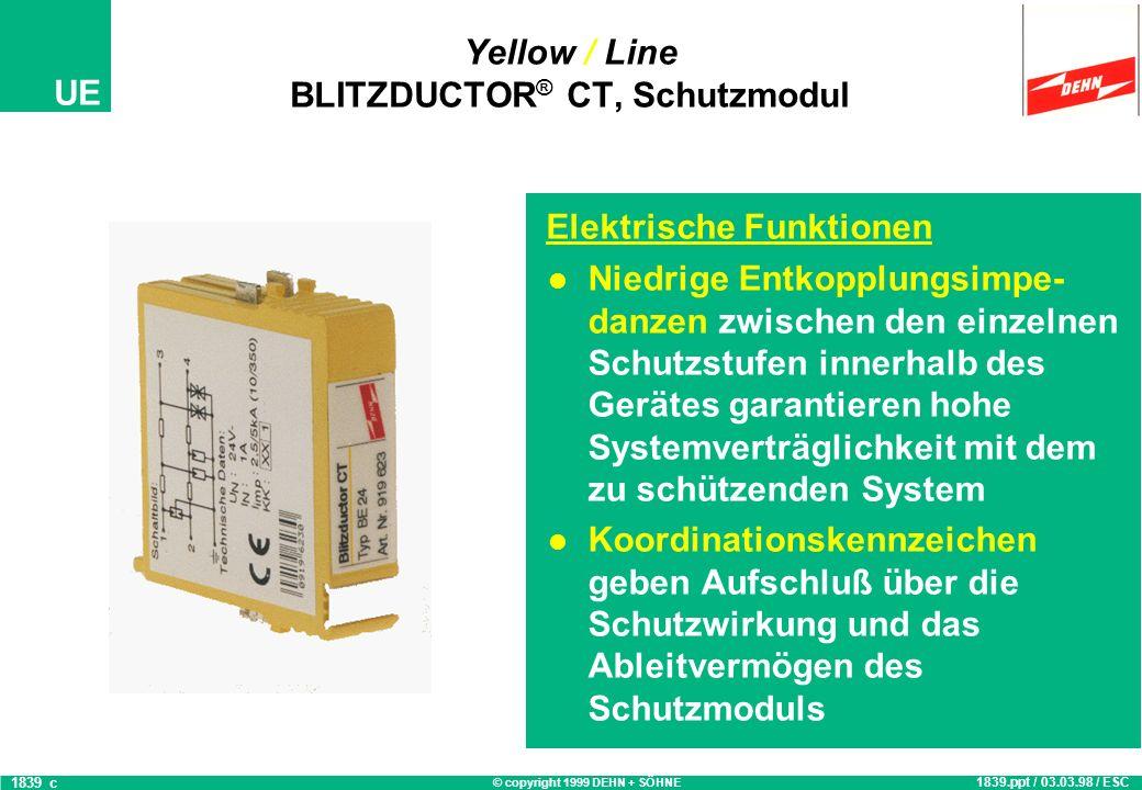 © copyright 1999 DEHN + SÖHNE UE Yellow / Line BLITZDUCTOR ® CT, Schutzmodul Systemgerechte Schutzschalt- ungen zur Feinbegrenzung von Längsüberspannu