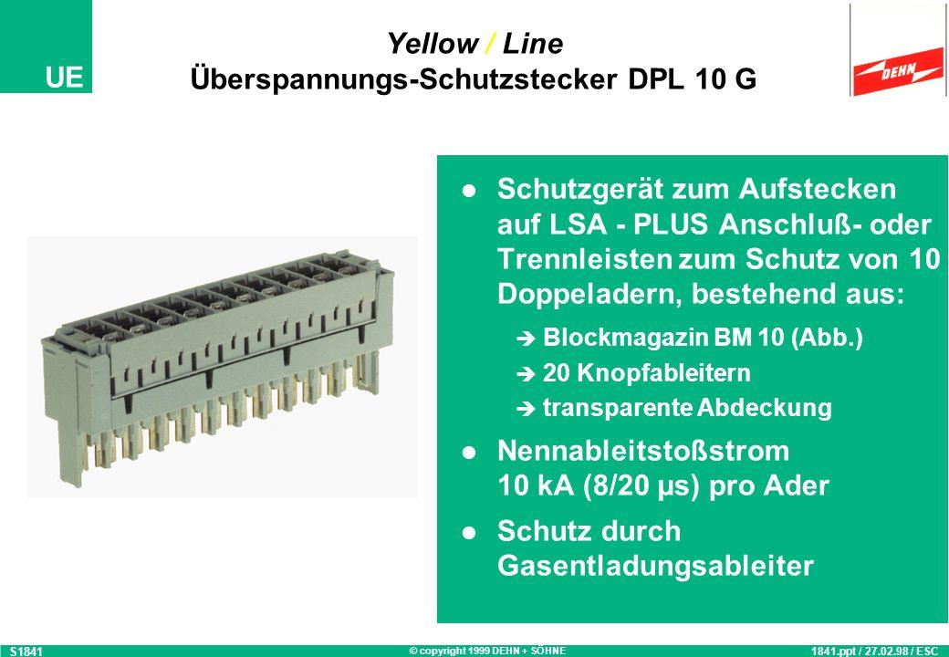 © copyright 1999 DEHN + SÖHNE UE Yellow / Line BLITZDUCTOR ® CT Typ MD/Ex S1835 1835.ppt / 03.03.98 / ESC BLITZDUCTOR ® CT Typ MD/Ex Überspannungsschu