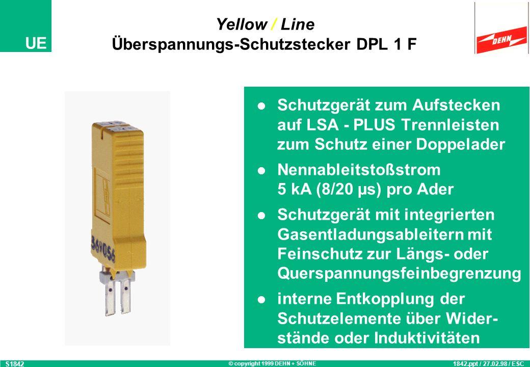 © copyright 1999 DEHN + SÖHNE UE Yellow / Line Überspannungs-Schutzstecker DPL 10 F S1843 1843.ppt / 27.02.98 / ESC Schutzgerät zum Aufstecken auf LSA