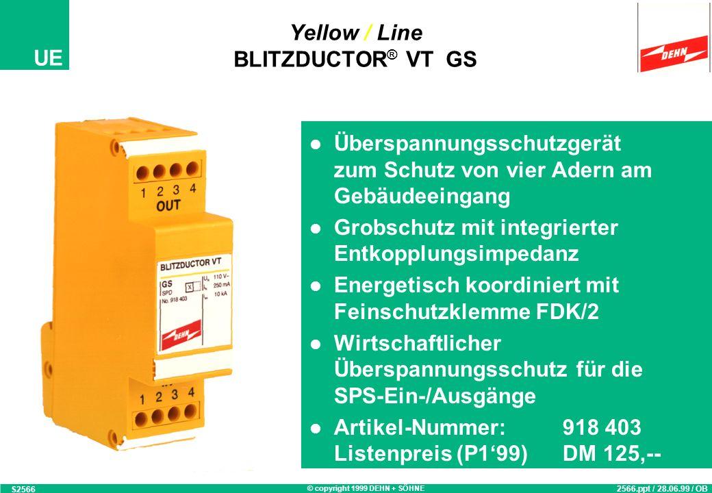 © copyright 1999 DEHN + SÖHNE UE DPL 1F Montagebeispiel mit Erdungs-Kammschiene S1567a 1567.ppt / 14.10.97 / OB