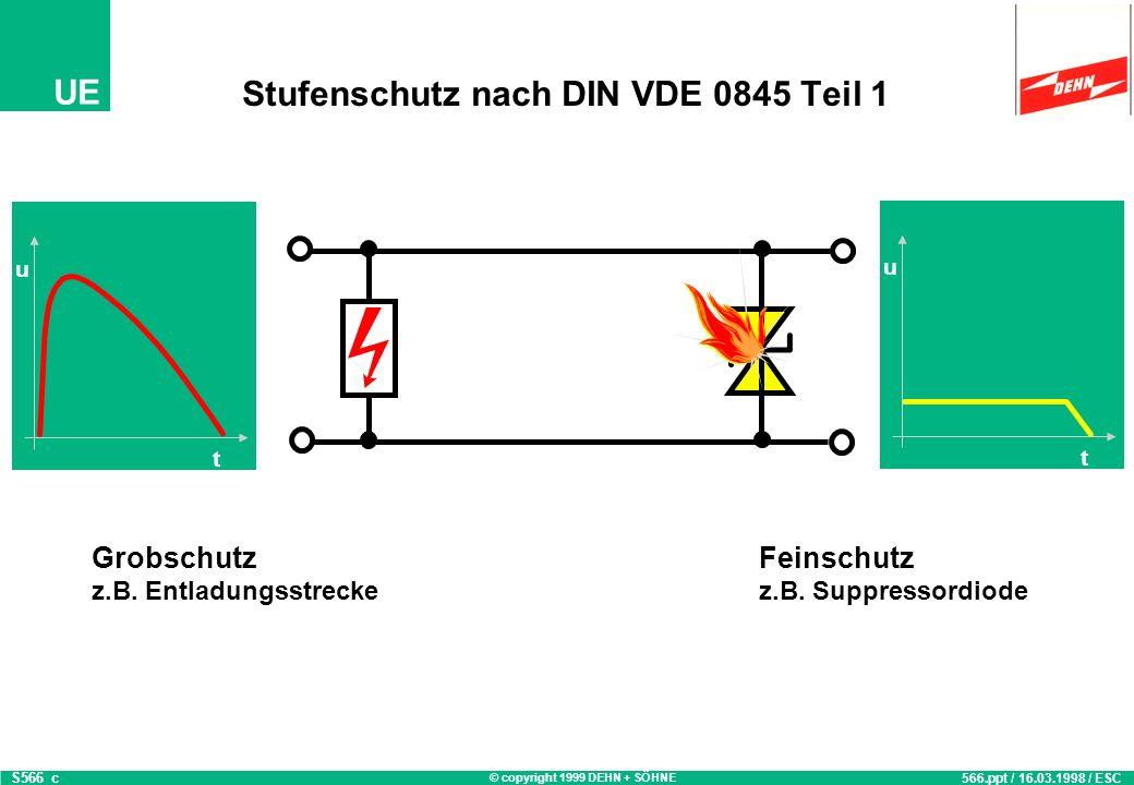 © copyright 1999 DEHN + SÖHNE UE Stufenschutz nach DIN VDE 0845 Teil 1 S566_a 566.ppt / 16.03.1998 / ESC t u t u Grobschutz z.B. Entladungsstrecke