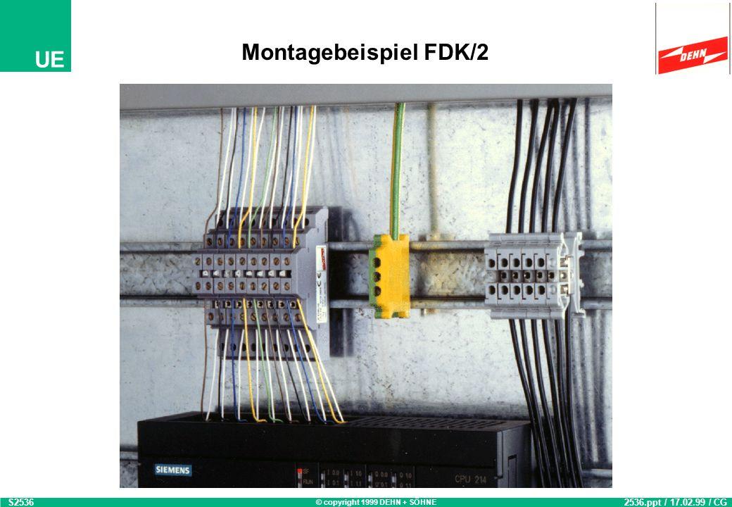 © copyright 1999 DEHN + SÖHNE UE Yellow / Line Überspannungsschutz - Reihenklemme FDK/2 S1855 1855.ppt / 03.03.98 / ESC 2polige Durchgangsklemme mit i