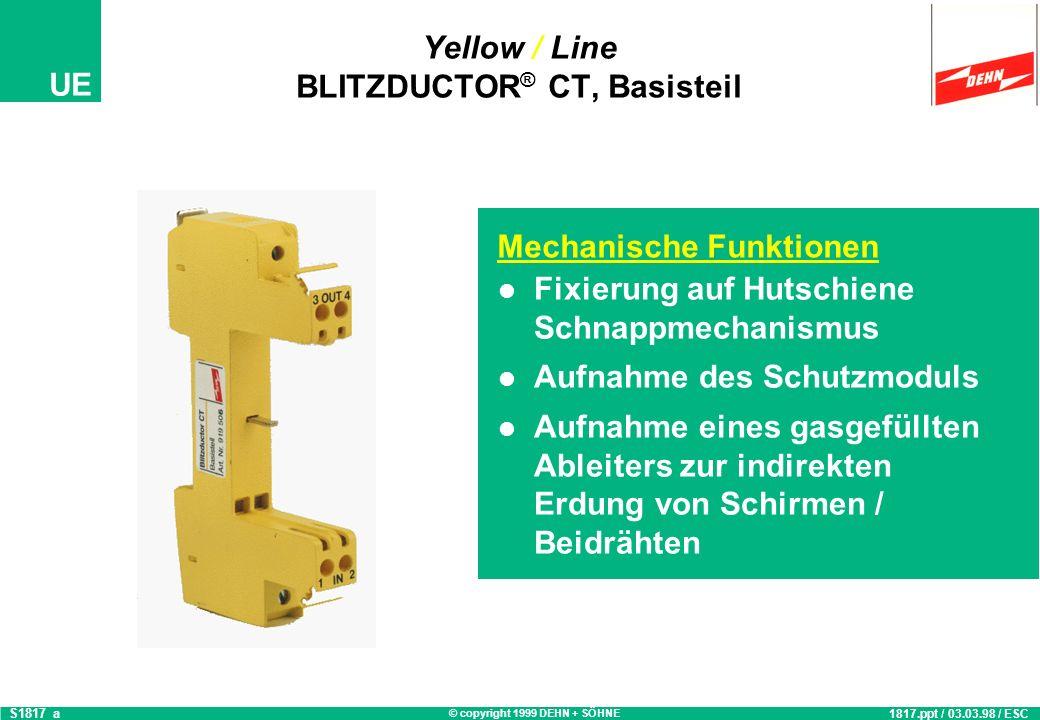 © copyright 1999 DEHN + SÖHNE UE Einsatz Yellow / Line BLITZDUCTOR ® CT S1818_c 1818.ppt / 03.03.98 / ESC Montage auf Hutschiene 35 mm nach EN 50 022