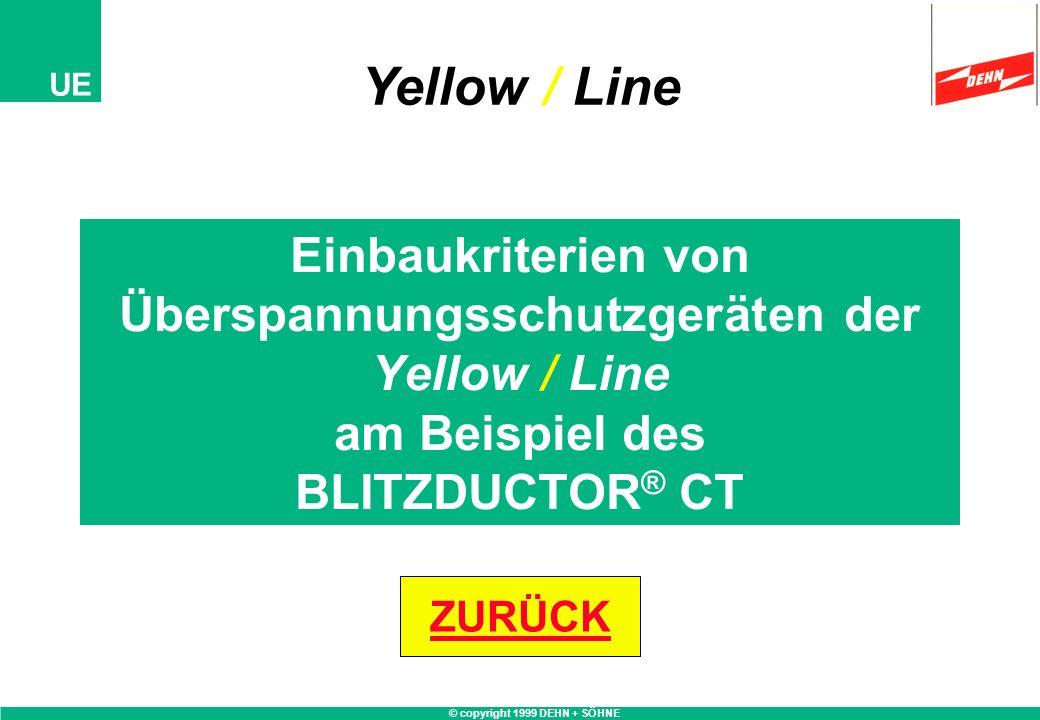 © copyright 1999 DEHN + SÖHNE UE Einbaukriterien von Überspannungsschutzgeräten der Yellow / Line am Beispiel des BLITZDUCTOR ® CT Yellow / Line ZURÜC