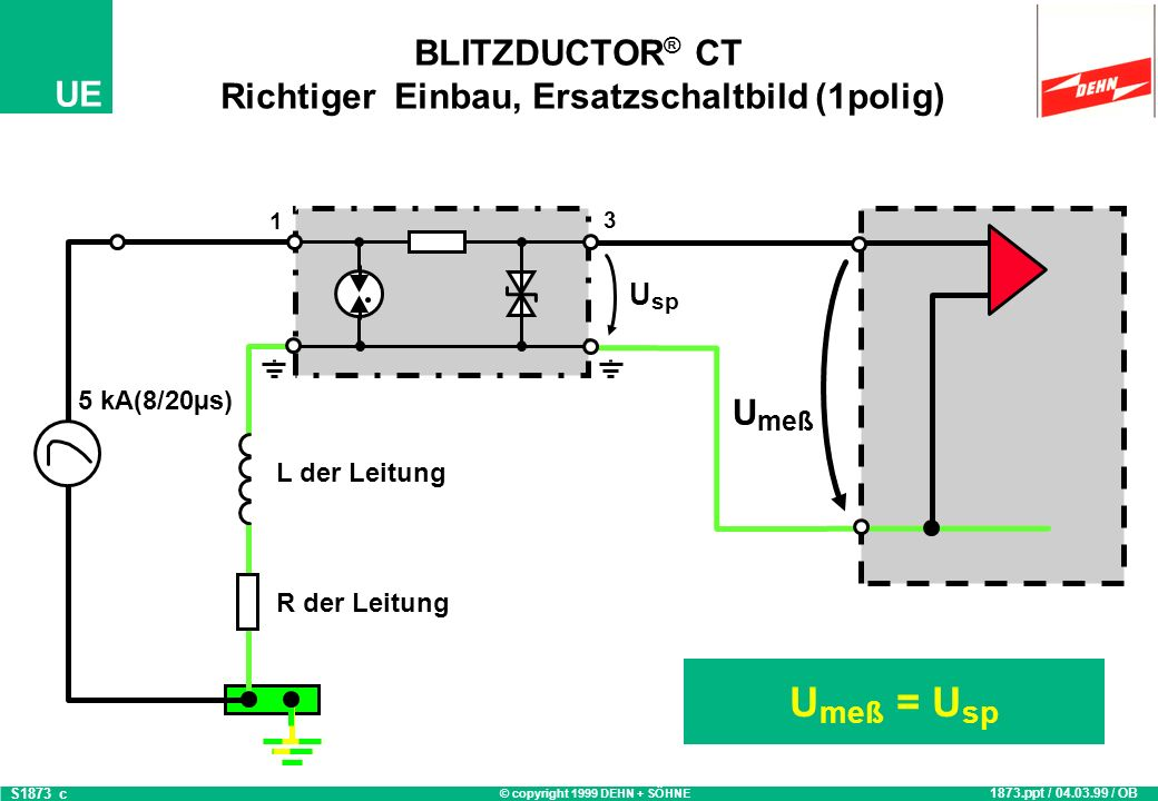 © copyright 1999 DEHN + SÖHNE UE BLITZDUCTOR ® CT Falscher Einbau 1875.ppt / 01.03.99 / OB S1875_a 3 OUT 4 1 IN 2 BLITZDUCTOR CT Typ BE 12 Art.Nr.: 919 620 1 2 3 4