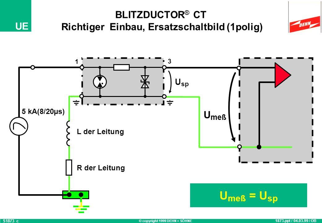 © copyright 1999 DEHN + SÖHNE UE BLITZDUCTOR ® CT Richtiger Einbau, Ersatzschaltbild (1polig) U meß = U sp 1873.ppt / 04.03.99 / OB S1873_c U meß 5 kA