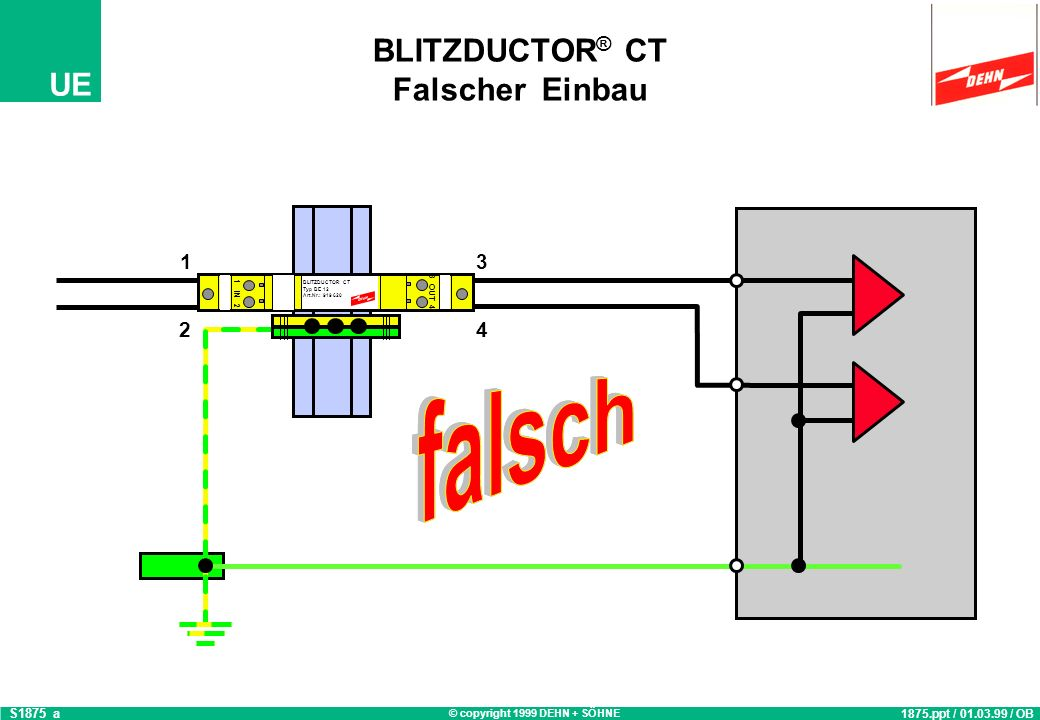 © copyright 1999 DEHN + SÖHNE UE BLITZDUCTOR ® CT Falscher Einbau 1875.ppt / 01.03.99 / OB S1875_a 3 OUT 4 1 IN 2 BLITZDUCTOR CT Typ BE 12 Art.Nr.: 91