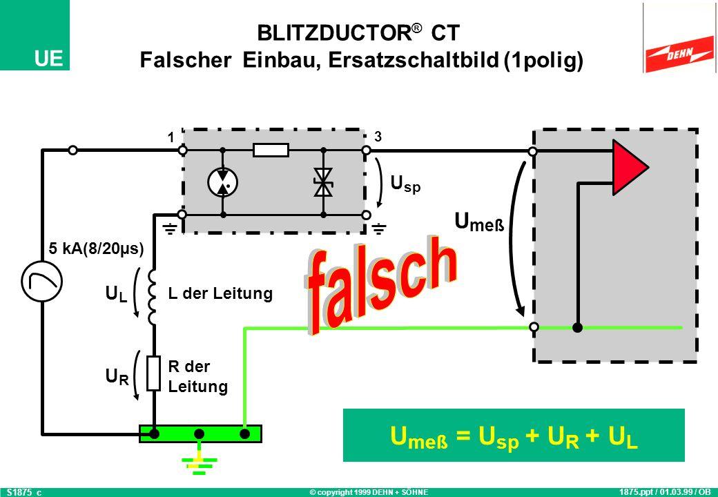 © copyright 1999 DEHN + SÖHNE UE BLITZDUCTOR ® CT Falscher Einbau, Ersatzschaltbild (1polig) U meß = U sp + U R + U L 1875.ppt / 01.03.99 / OB S1875_c