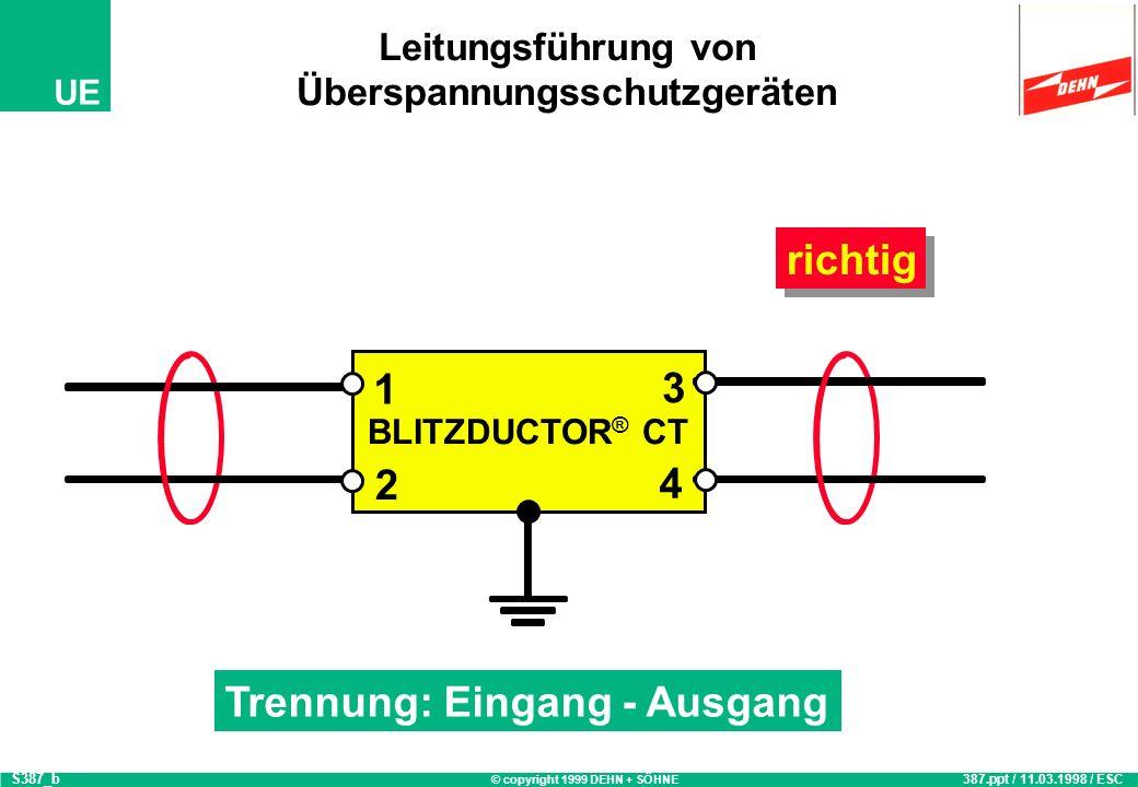 © copyright 1999 DEHN + SÖHNE UE BLITZDUCTOR ® CT Leitungsführung von Überspannungsschutzgeräten 387.ppt / 11.03.1998 / ESC S387_b richtig Trennung: E