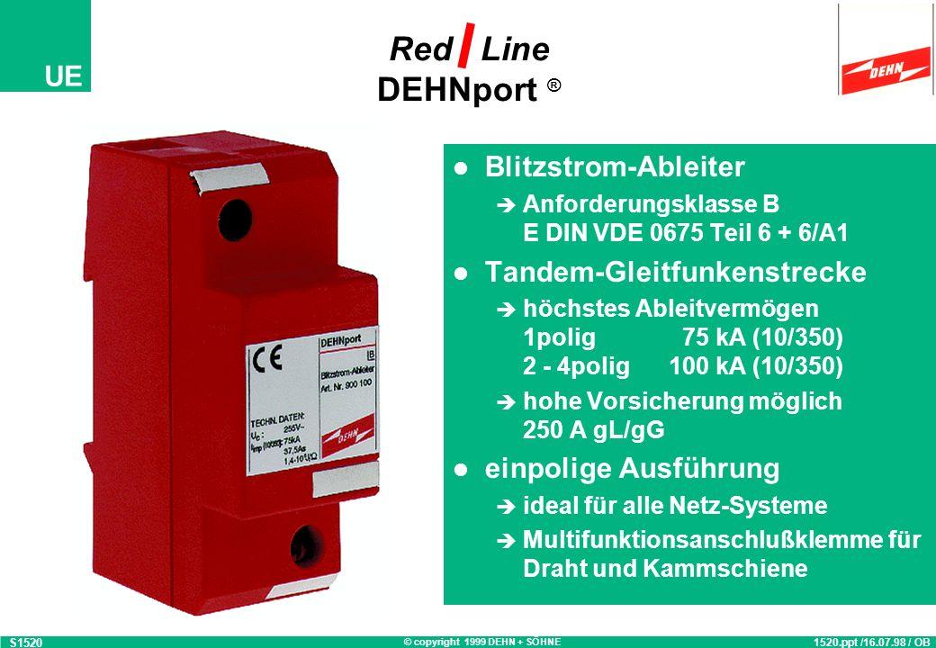 © copyright 1999 DEHN + SÖHNE UE Blitzstrom-Ableiter Anforderungsklasse B E DIN VDE 0675 Teil 6 + 6/A1 Tandem-Gleitfunkenstrecke höchstes Ableitvermögen 1polig 75 kA (10/350) 2 - 4polig 100 kA (10/350) hohe Vorsicherung möglich 250 A gL/gG einpolige Ausführung ideal für alle Netz-Systeme Multifunktionsanschlußklemme für Draht und Kammschiene Red Line DEHNport ® S1520 1520.ppt /16.07.98 / OB