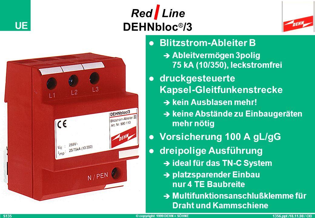 © copyright 1999 DEHN + SÖHNE UE Blitzstrom-Ableiter B Ableitvermögen 3polig 75 kA (10/350), leckstromfrei druckgesteuerte Kapsel-Gleitfunkenstrecke kein Ausblasen mehr.