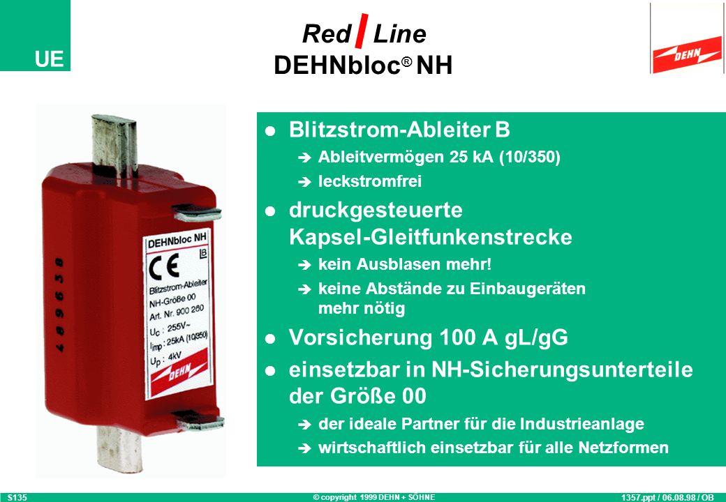 © copyright 1999 DEHN + SÖHNE UE Blitzstrom-Ableiter B Ableitvermögen 25 kA (10/350) leckstromfrei druckgesteuerte Kapsel-Gleitfunkenstrecke kein Ausblasen mehr.