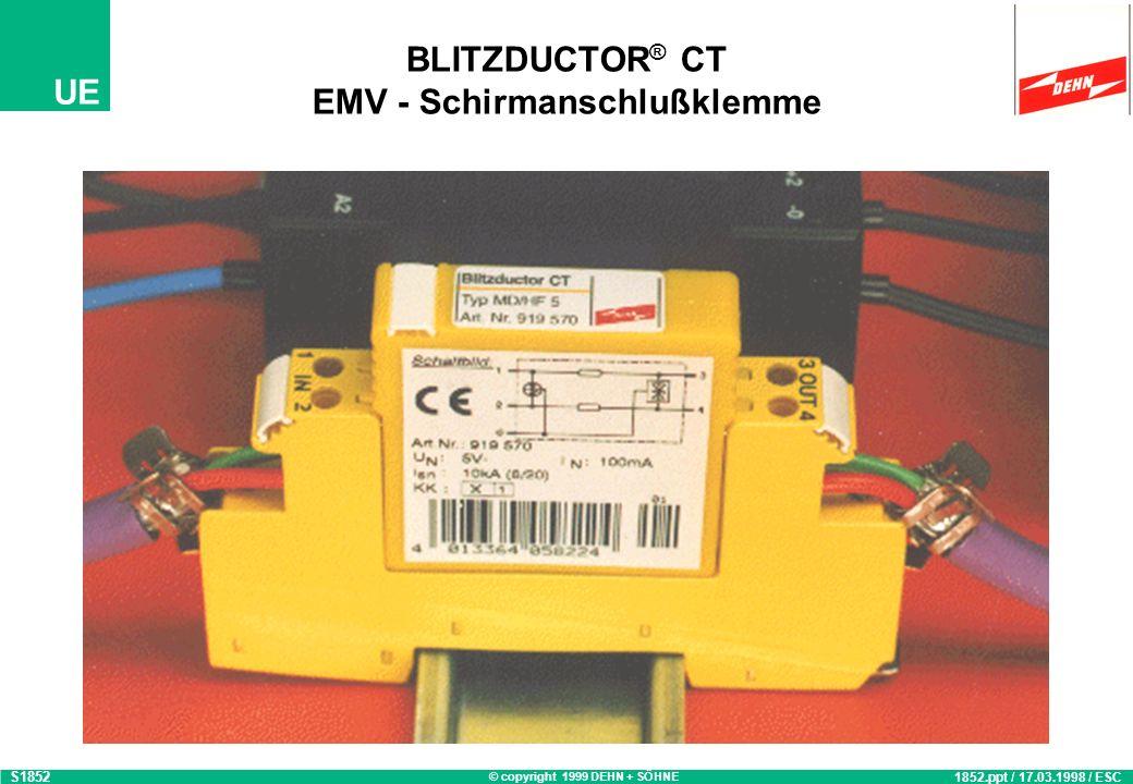 © copyright 1999 DEHN + SÖHNE UE BLITZDUCTOR ® CT EMV - Schirmanschlußklemme 1852.ppt / 17.03.1998 / ESC S1852