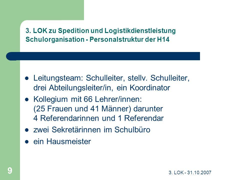 3. LOK - 31.10.2007 9 3. LOK zu Spedition und Logistikdienstleistung Schulorganisation - Personalstruktur der H14 Leitungsteam: Schulleiter, stellv. S