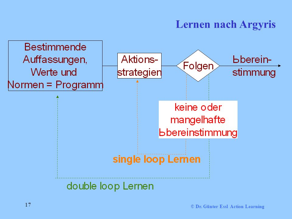 © Dr. Günter Essl Action Learning 17 Lernen nach Argyris